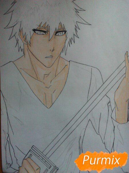 Как рисовать и раскрасить Куросаки Ичиго с мечем карандашами - шаг 8