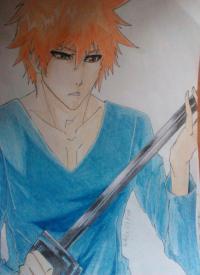 Как рисовать и раскрасить Куросаки Ичиго карандашами