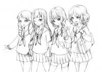 Фото аниме девушек школьниц карандашом