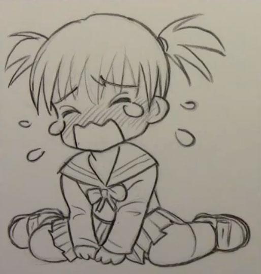 Как рисовать в стиле Чиби(Chibi) плач, слезы поэтапно
