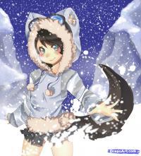 Как нарисовать Neko в снегу карандашом поэтапно