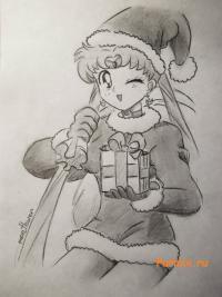 Sailor Moon в костюме санты карандашом на бумаге