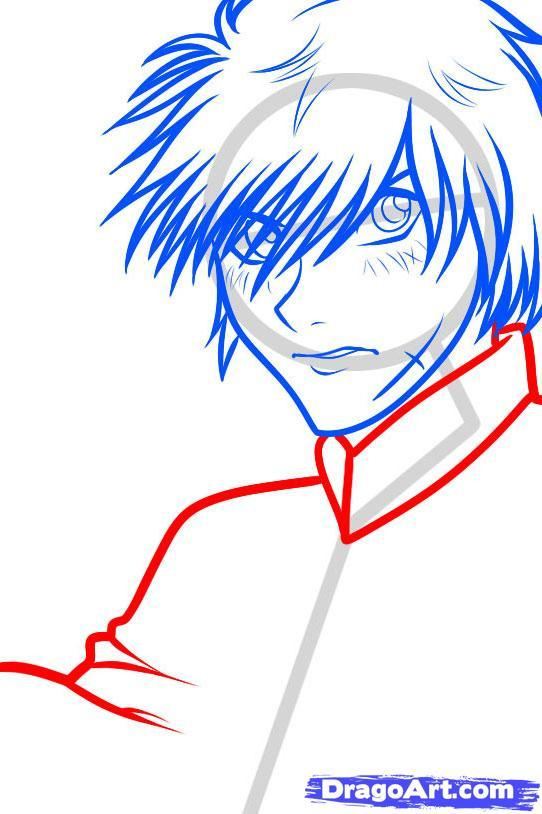 Как нарисовать Sousuke Sagara из Full Metal Panic поэтапно