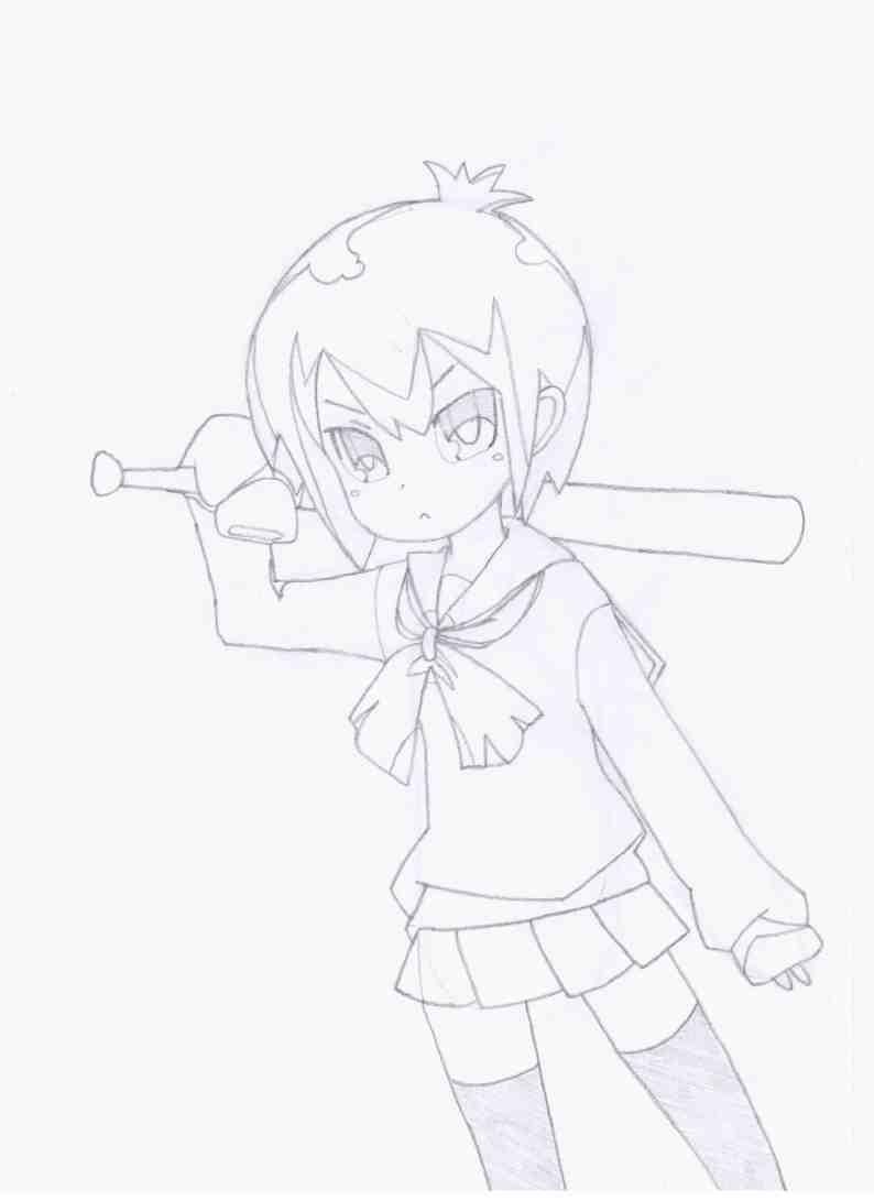 Как нарисовать Тору из аниме Channel A/Канал А карандашом поэтапно