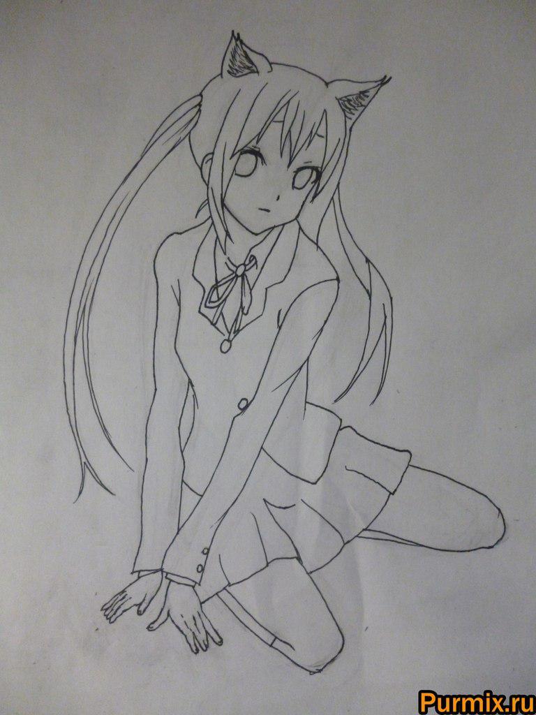 Рисуем Адзусу Накано с ушками карандашами - фото 4