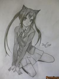 Адзусу Накано из аниме K-on! простым карандашом