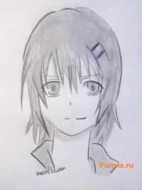 Фото Аи Судзуно из аниме Монохромный фактор карандашом