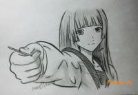 Айку Фува из аниме Буря потерь простым карандашом