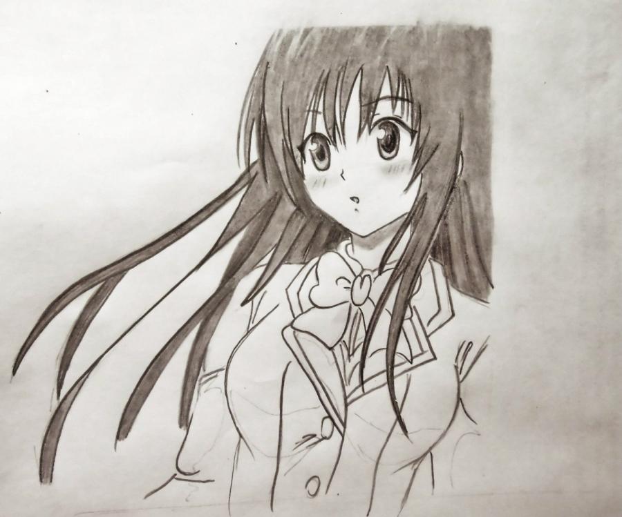 Как нарисовать Юи из аниме Любовные неприятности карандашом поэтапно