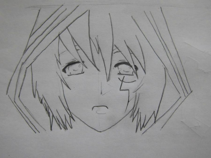 Рисуем Аллена Уолкера из аниме Ди.Грей - мен карандашами - шаг 3