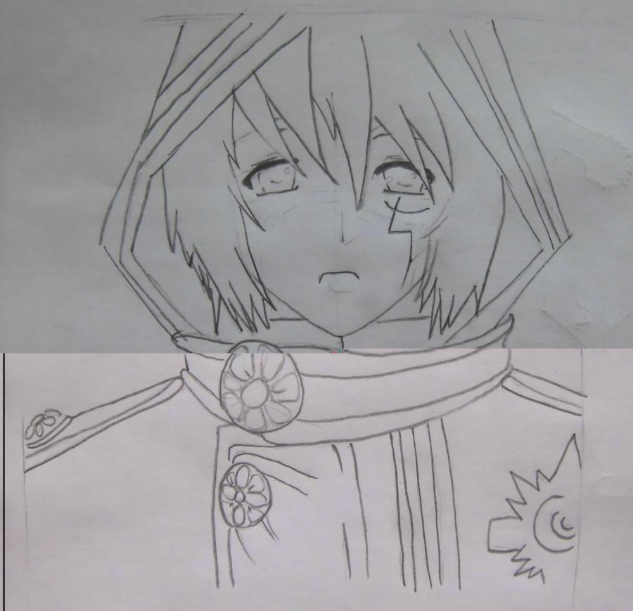 Рисуем Аллена Уолкера из аниме Ди.Грей - мен карандашами - шаг 4