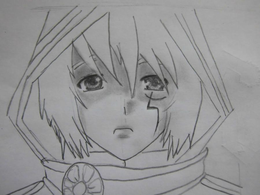 Рисуем Аллена Уолкера из аниме Ди.Грей - мен карандашами - шаг 5
