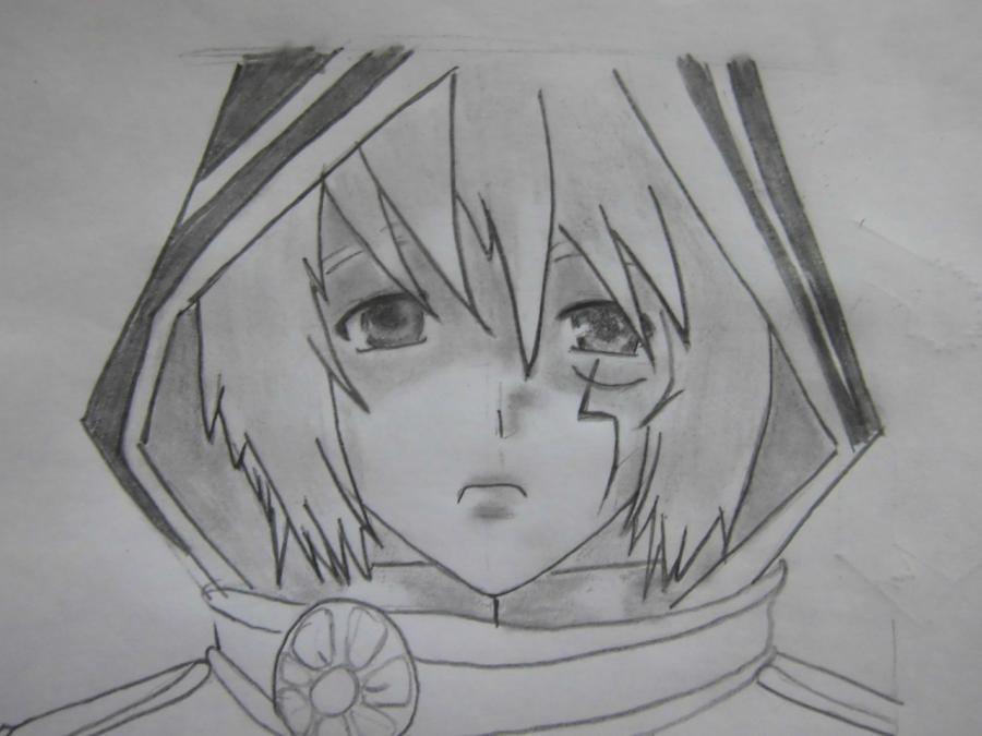 Рисуем Аллена Уолкера из аниме Ди.Грей - мен карандашами - шаг 7