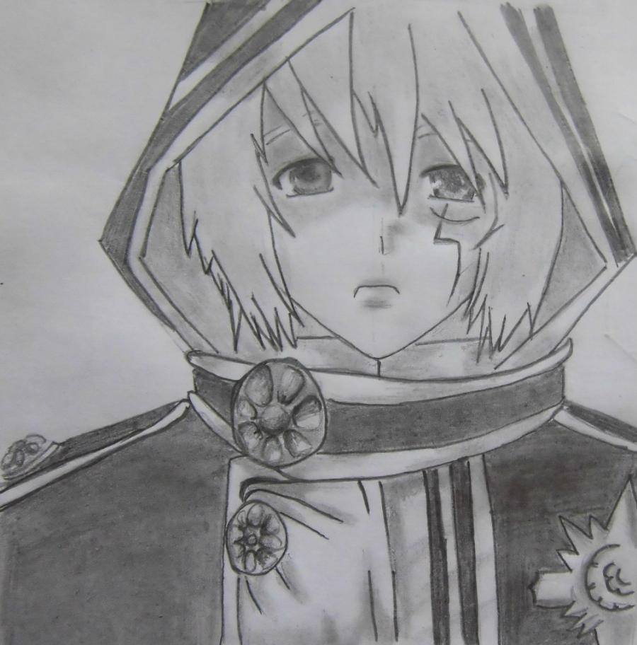 Рисуем Аллена Уолкера из аниме Ди.Грей - мен карандашами - шаг 9