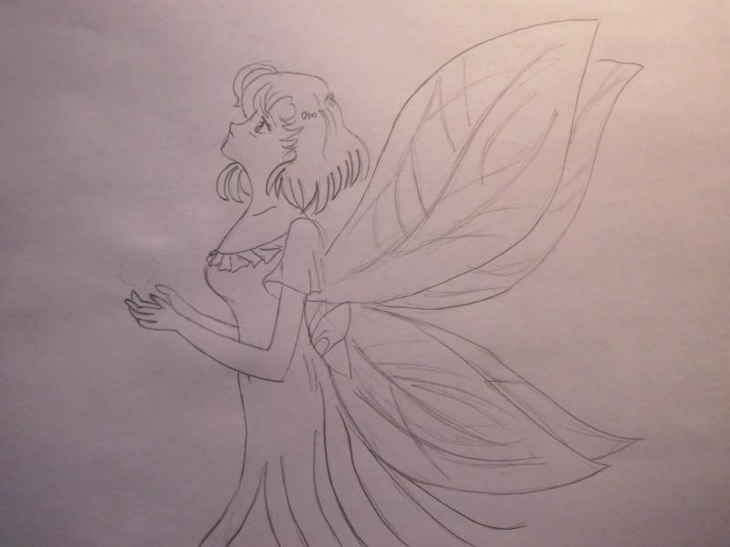 Как нарисовать Ами Мицуно в образе феи карандашом поэтапно