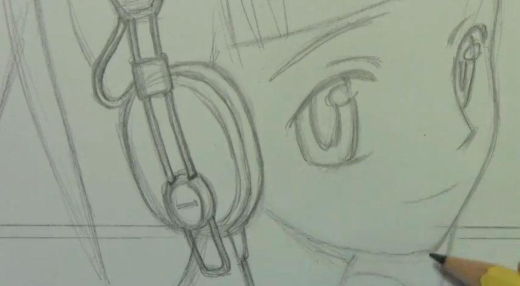 Рисуем аниме девушку с наушниками карандашами - фото 4