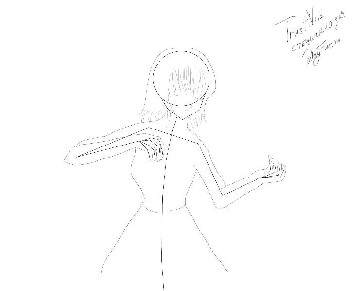 Рисуем аниме девушку ангела карандашами - шаг 2
