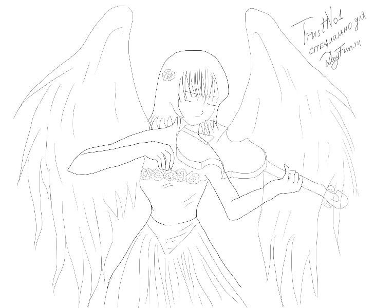 Рисуем аниме-ангела со скрипкой - шаг 4