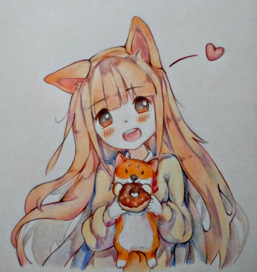 Как нарисовать аниме-девочку с лисенком цветными карандашами