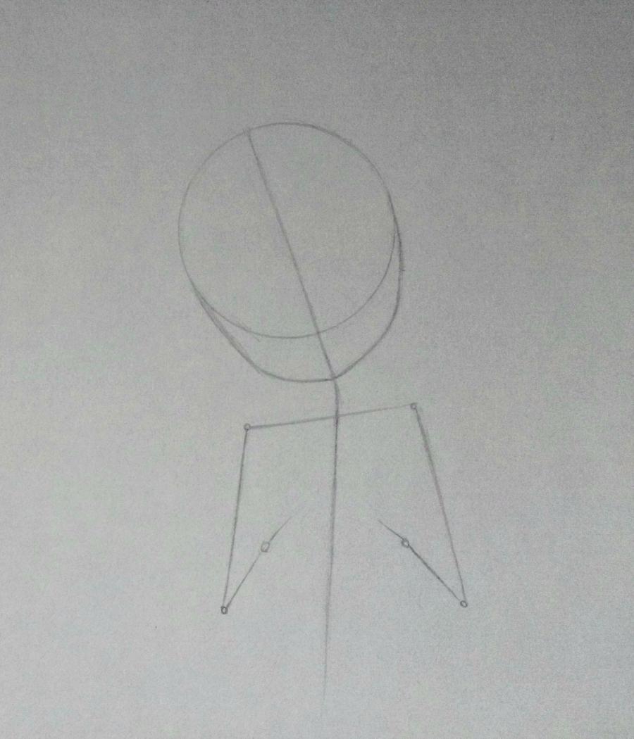 Рисуем аниме-девочку с лисенком цветными карандашами - фото 2