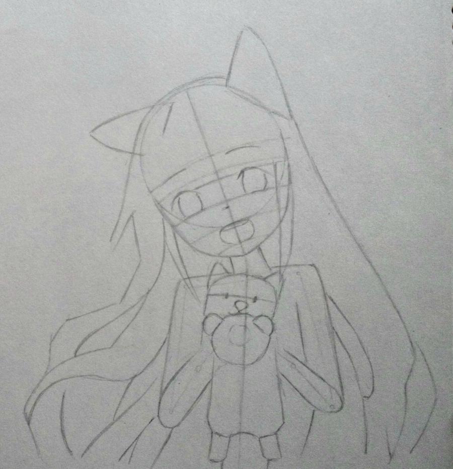 Рисуем аниме-девочку с лисенком цветными карандашами - фото 6