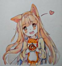 аниме-девочку с лисенком цветными карандашами