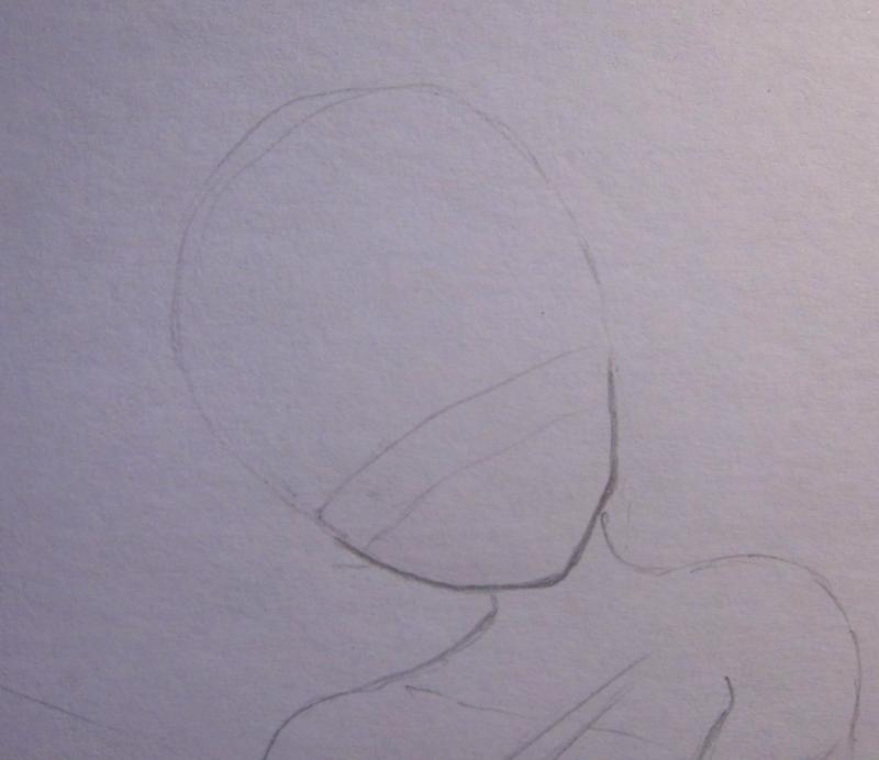 Рисуем аниме ангела - шаг 1