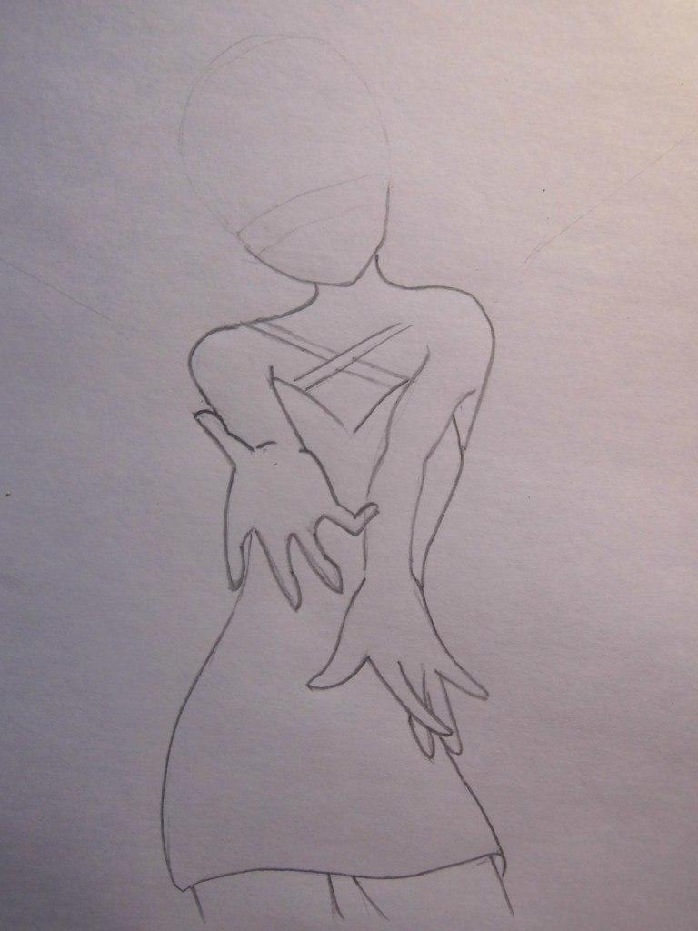 Рисуем аниме ангела - шаг 2