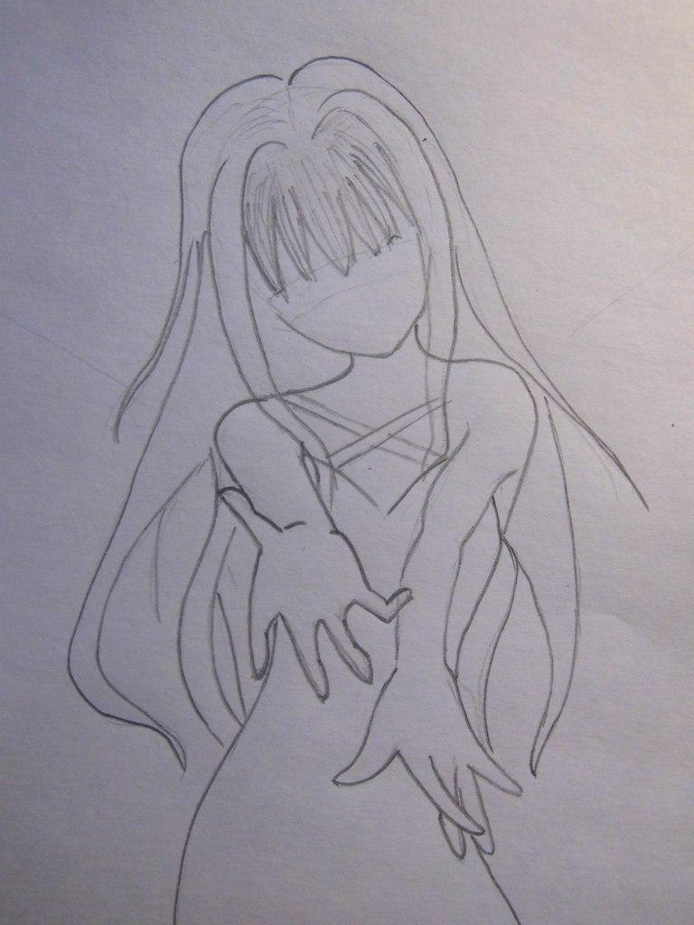 Рисуем аниме ангела - шаг 3