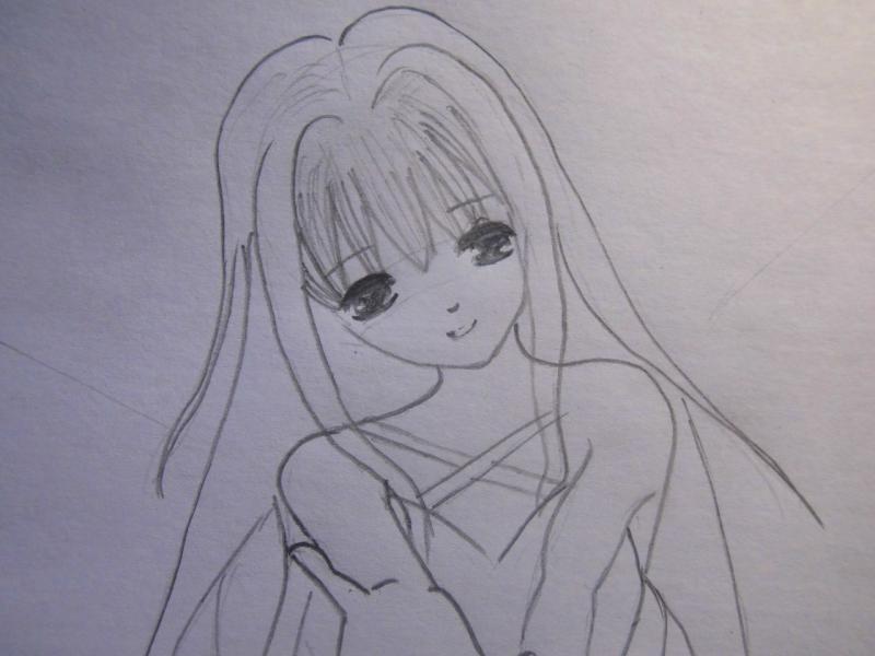 Рисуем аниме ангела - шаг 4