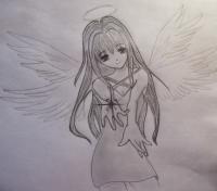 Фото аниме ангела карандашом
