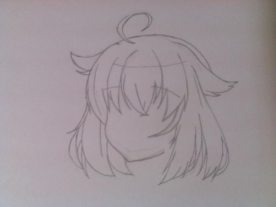 Рисуем и раскрасить аниме ангела с ушками - шаг 2