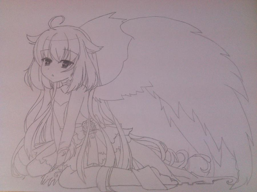 Рисуем и раскрасить аниме ангела с ушками - шаг 6