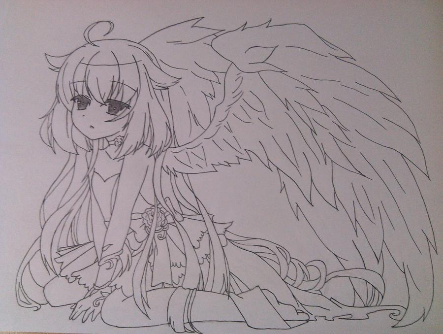 Рисуем и раскрасить аниме ангела с ушками - шаг 8