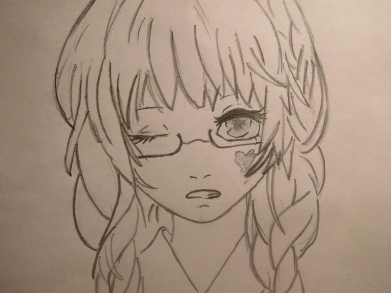 рисуем аниме простым карандашом: