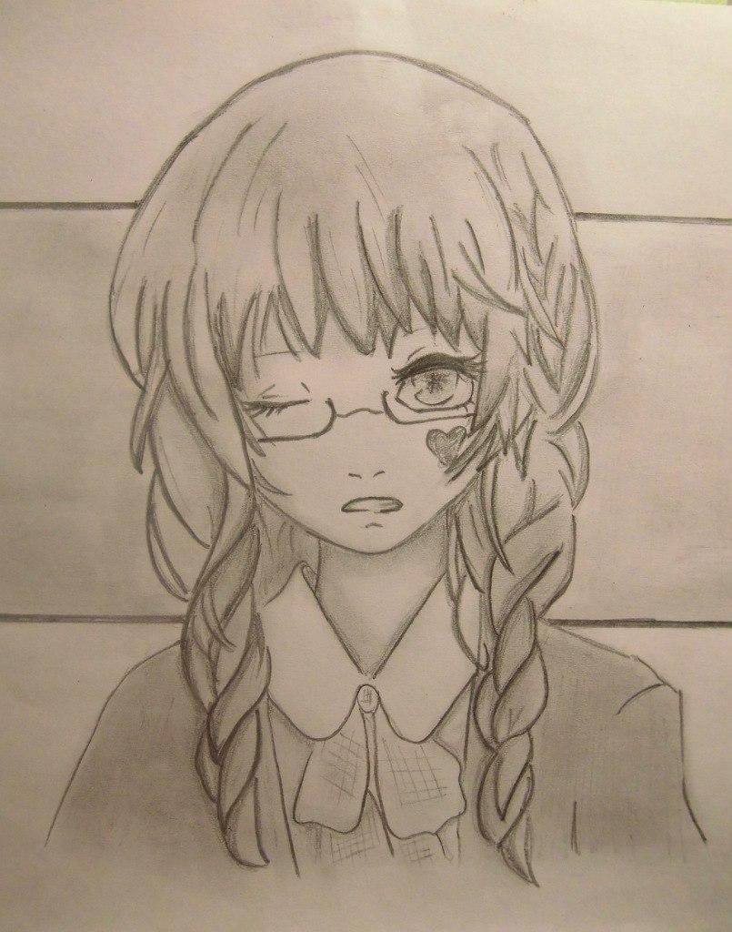 девушки аниме карандашом: