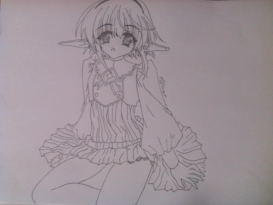 Как нарисовать аниме девочку эльфа карандашом поэтапно - шаг 10