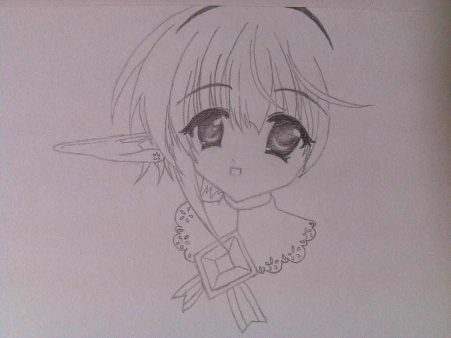 Как нарисовать аниме девочку эльфа карандашом поэтапно - шаг 4