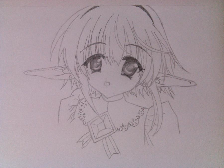 Как нарисовать аниме девочку эльфа карандашом поэтапно - шаг 5