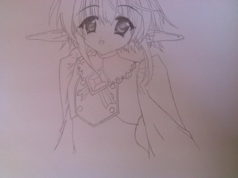 Как нарисовать аниме девочку эльфа карандашом поэтапно - шаг 6