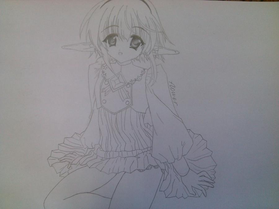 Как нарисовать аниме девочку эльфа карандашом поэтапно - шаг 9