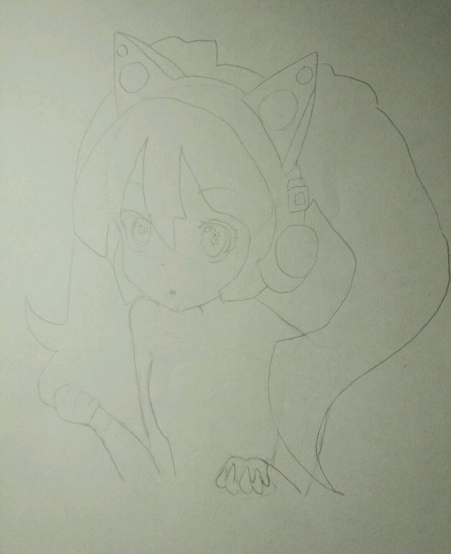 Рисуем аниме девочку в наушниках с кошачьими ушками - шаг 7