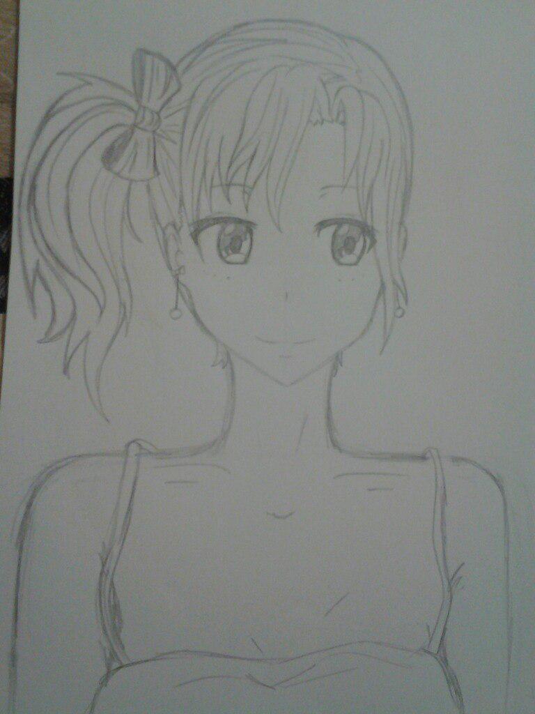 Как нарисовать аниме девушка кокетку простым карандашом - шаг 9