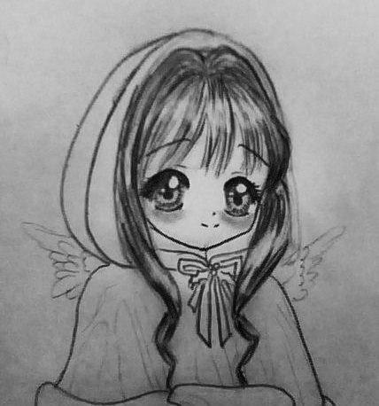 Рисуем аниме девушку ангела в новогодней одежде - шаг 6