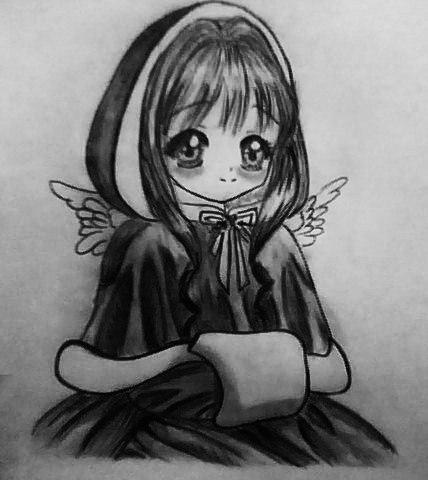 Рисуем аниме девушку ангела карандашами - шаг 7