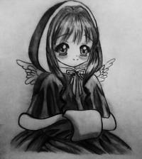 Фото аниме девушку ангела в новогодней одежде