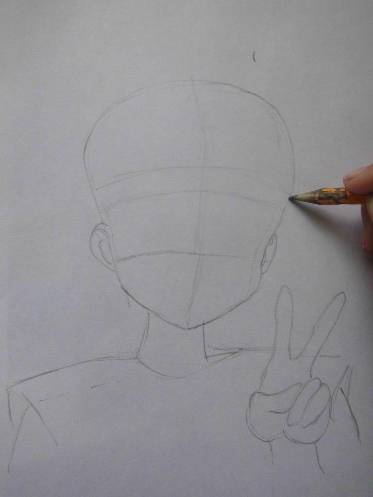 Рисуем красивую аниме девушку простым - шаг 1