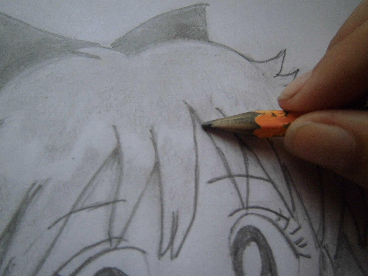 Рисуем красивую аниме девушку простым - шаг 15
