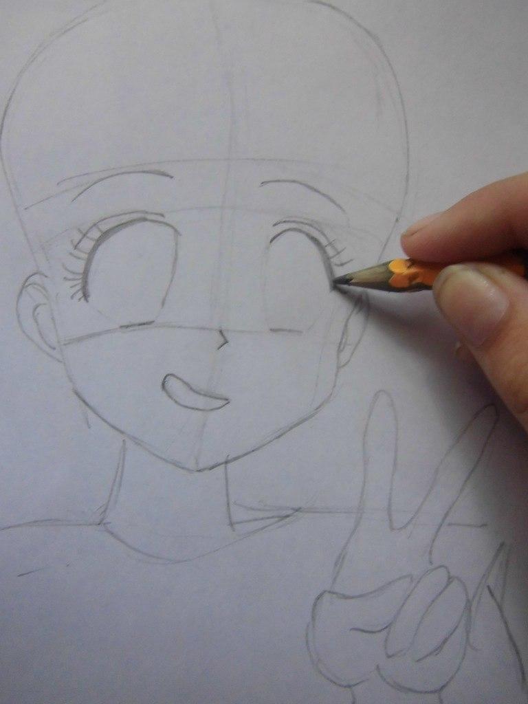 Рисуем красивую аниме девушку простым - шаг 2