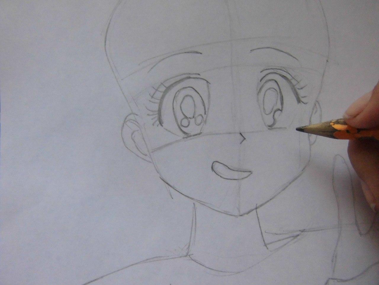 Рисуем красивую аниме девушку простым - шаг 3